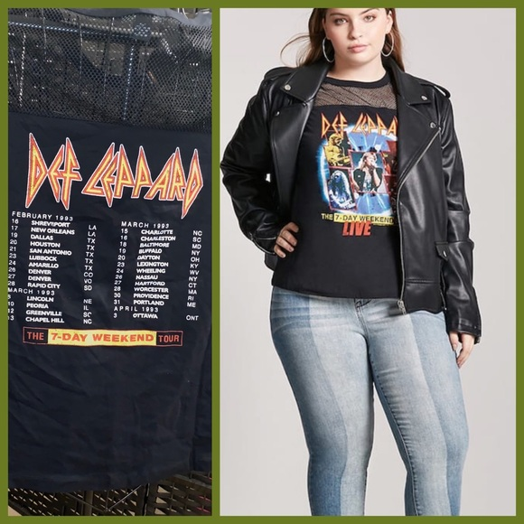 26a76f16 Forever 21 Tops | Plus Size Def Leppard Graphic Tour Tee | Poshmark